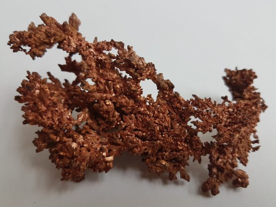 Specimen of Native Copper displaying dendritic crystal growth.