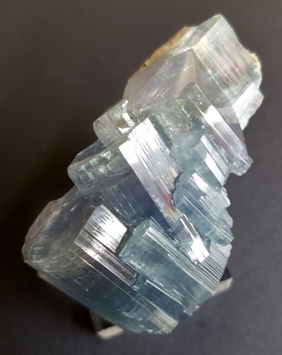 Beautiful aggregate of bevelled Fluorapatite crystals, of purplisy blue color.