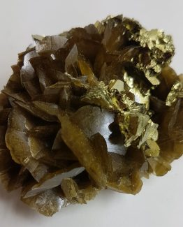Extraordinary combinations of Siderite and Chalcopyrite crystals.