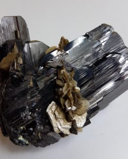 Very aesthetical twinned Ferberite with Muscovite.