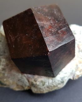 Extraordinary 5 cm dark brown colored Almandine Garnet crystal.