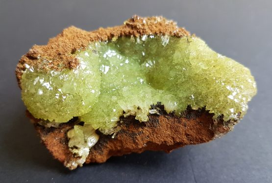 Adamite crystals on matrix.