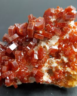 Perfect hexagonal Vanadinite crystals on Baryte matrix.