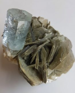 Beautiful Aquamarine (Beryl) crystal on Muscovite matrix.