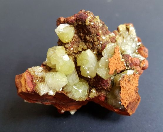 Group of Adamite crystals on Limonite matrix