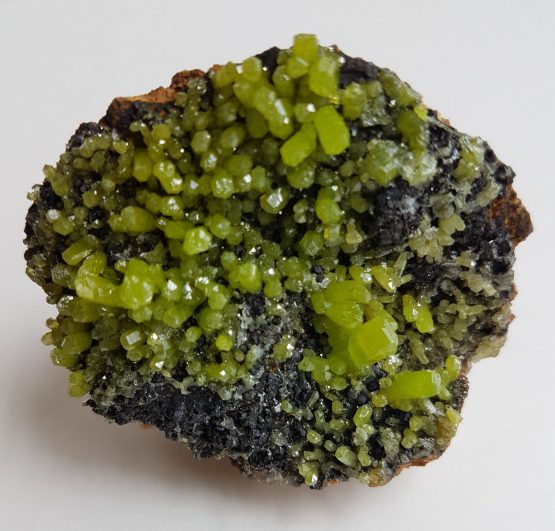 A group of small crystals of Pyromorphite on matrix.