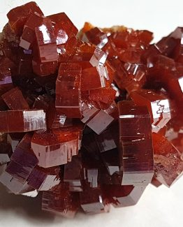 A fine mineral specimen formed by a group of Vanadinite hexagonal crystals