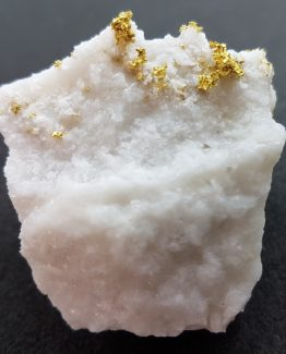 Native Gold crystals on a milky Quartz matrix