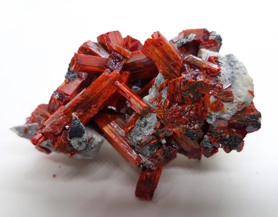 Specimen of Realgar with beautiful crystals .