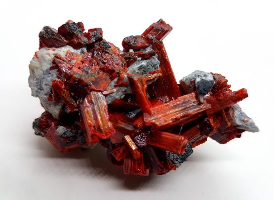 Specimen of Realgar with beautiful crystals on a matrix of sulphides.